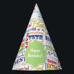 """Unique And Special 75th Birthday Party Gifts Party Hat<br><div class=""""desc"""">Typography themed 75th birthday party decor and gifts. Text includes fierce and fab at 75. fabulous at 75, amazing 75th birthday party, extra special 75th birthday, happy 75th birthday, rocking 75th birthday, looking good at 75, and amazing 75th birthday. Bright colorful text in yellow, pink, purple, blue, green and red....</div>"""