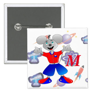 Unique and very cool space mouse pinback button