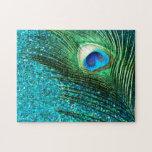 "Unique Aqua Peacock Jigsaw Puzzle<br><div class=""desc"">Amazing peacock feather design.  The amazing aqua blue background has a stunning and unique peacock feather.</div>"