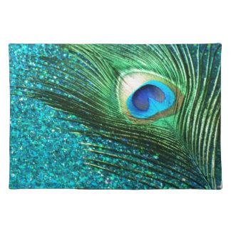 Unique Aqua Peacock Cloth Place Mat