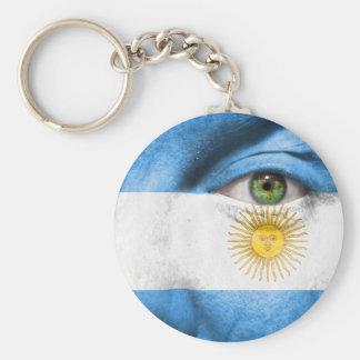 Unique Argentina flag design Basic Round Button Keychain