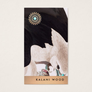 Unique Artistic Hawk and Lotus Detail Business Card
