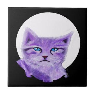 Unique artistic purple cat with blue eyes tile