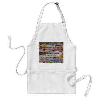 unique artistic word collage paper mache adult apron