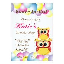 Unique baby owl birthday card