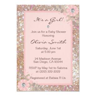 Sparkle baby shower invitations zazzle unique baby shower invitations girls pinkbrown filmwisefo
