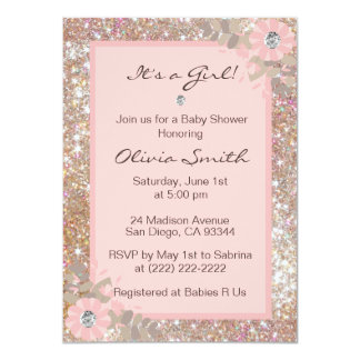 Unique Baby Shower Invitations Girls   Pink,Brown