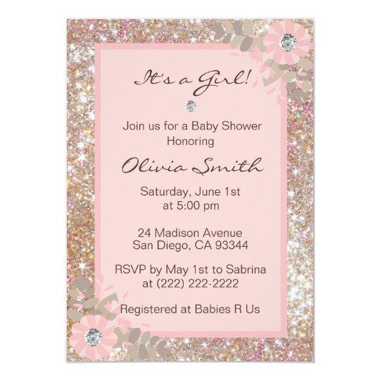 Unique Baby Shower Invitations Girls - Pink,Brown