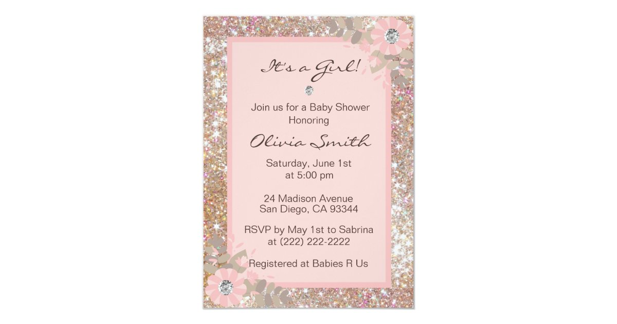 Unique Baby Shower Invitations Girls - Pink,Brown | Zazzle.com
