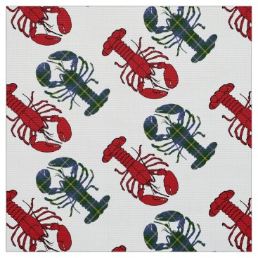 Beach Themed Unique Beach fabric red Lobster Tartan taupe