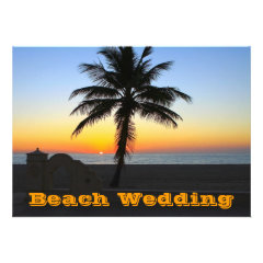 Unique Beach Wedding Invitations Palm Tree Sunset