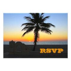 Unique Beach Wedding Palm Tree Sunset RSVP Cards