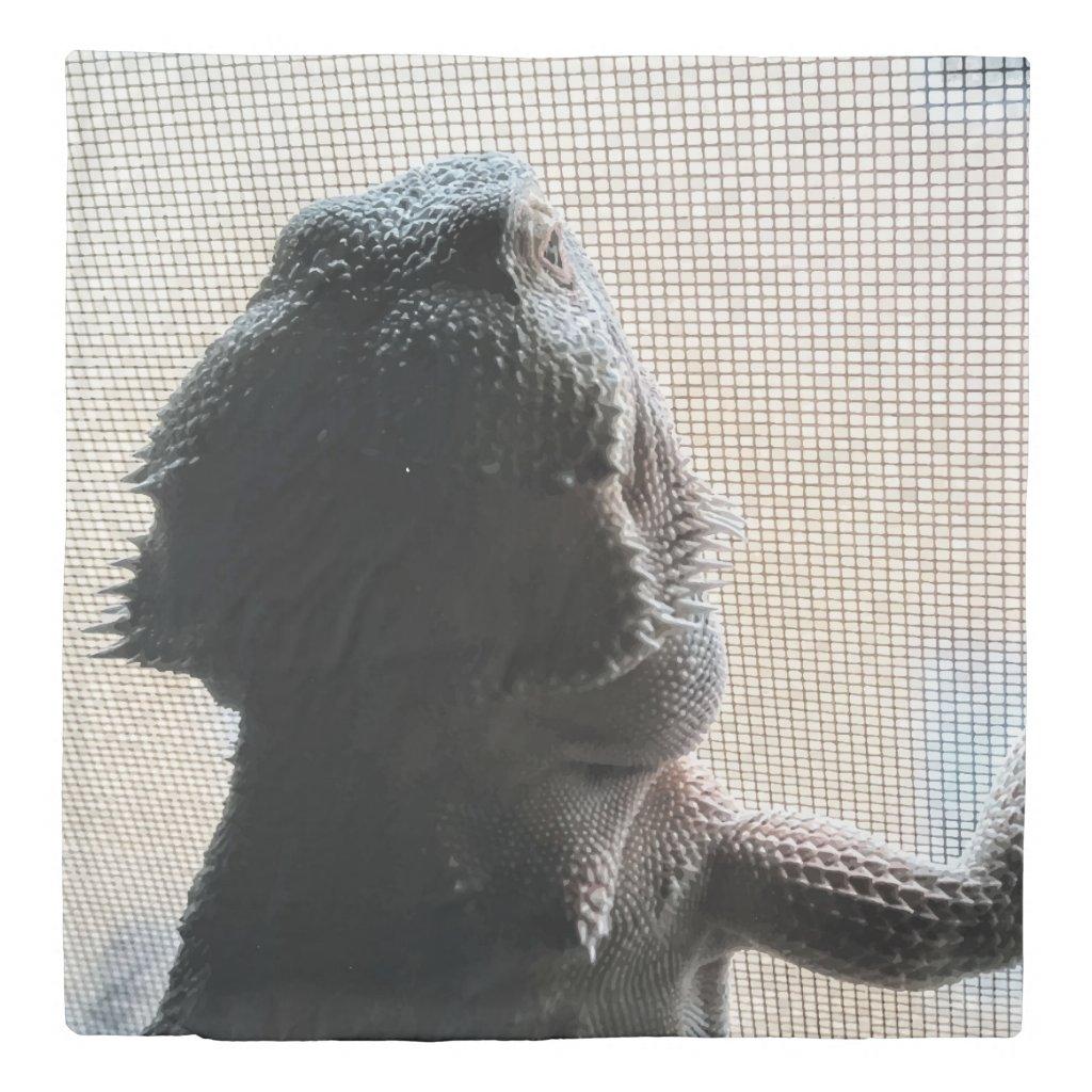 Unique Bearded Dragon Print Queen Duvet Cover