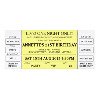 Unique Birthday Invitation (Concert Ticket Styled)  Concert Ticket Birthday Invitations
