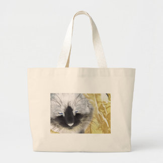 Unique Black and White Cat Large Tote Bag