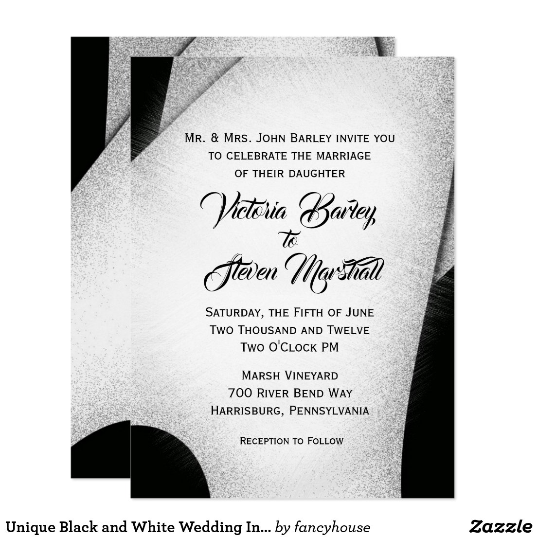 Unique Black and White Wedding Invitation