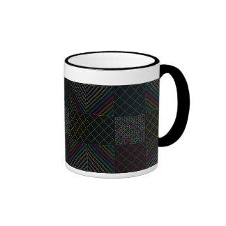 Unique Black Coffee Mug with color patterns