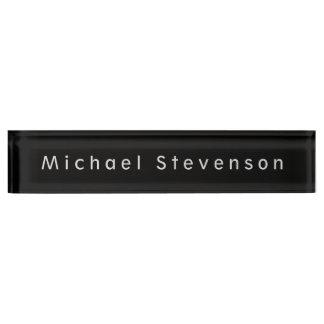 Unique Black Elegant Modern Desk Nameplate