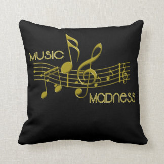 Unique Black Gold Music Lovers Throw Pillow 16""