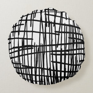 Unique black white hand painted paint drips round pillow