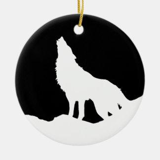 Unique Black & White Pop Art Wolf Silhouette Ceramic Ornament