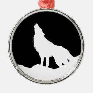 Unique Black & White Pop Art Wolf Silhouette Metal Ornament