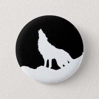 Unique Black & White Pop Art Wolf Silhouette Pinback Button