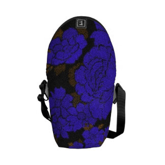 Unique Blue Abstract Roses Courier Bag
