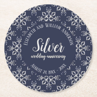 Unique Blue and Silver Gray 25th Anniversary Round Paper Coaster