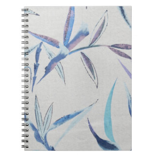 Unique Blue Bamboo Leaves Notebook