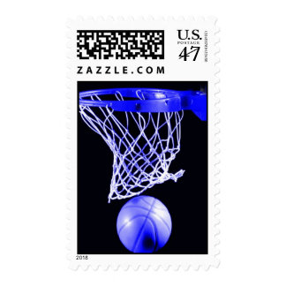 Unique Blue Basketball Postage Stamp