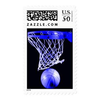 Unique Blue Basketball Postage Stamp