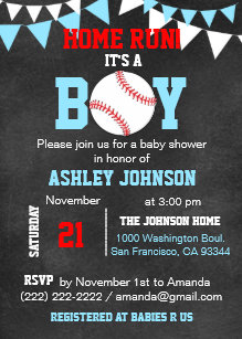 Unique Blue Boy Baseball Baby Shower Invitations