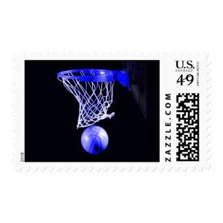 Unique Blue Color Basketball Postage Stamp