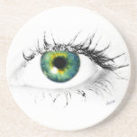 unique blue green eye photo beverage coasters