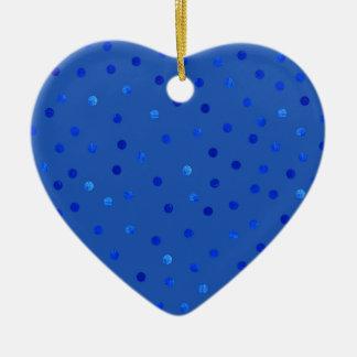 Unique Blue Polka Dots Pattern Ceramic Ornament