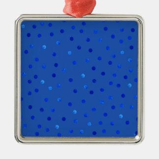 Unique Blue Polka Dots Pattern Metal Ornament