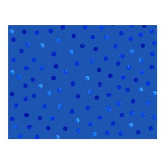 Unique Blue Polka Dots Pattern Postcard
