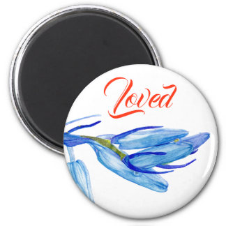 Unique Bluebell Painting. Custom Round Magnet