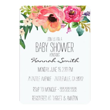 design_and_donuts Unique Boho Floral Baby Shower Invitation
