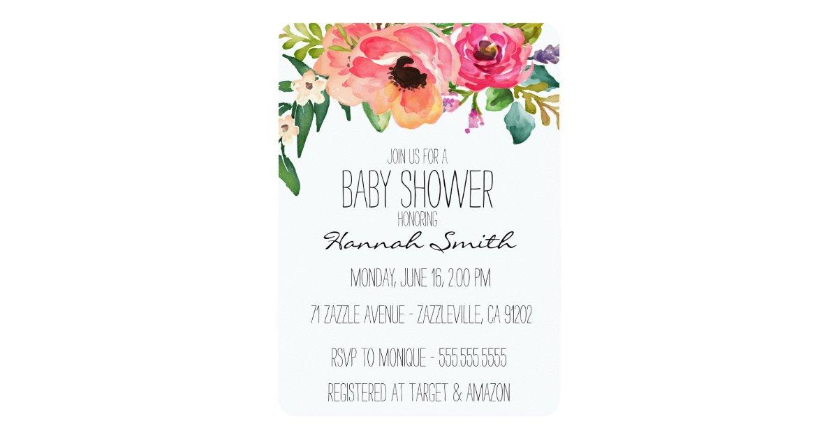 Unique Boho Floral Baby Shower Invitation | Zazzle.com