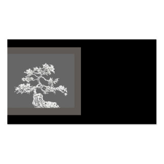 unique bonsai tree business card black and gray