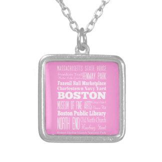 Unique Boston, Massachusetts Gift idea Square Pendant Necklace