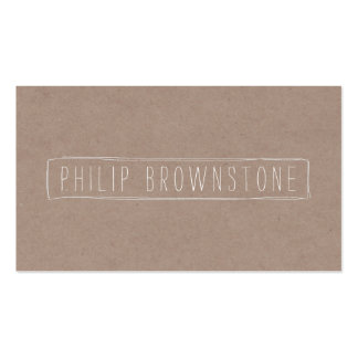 Unique Box Sketch Hand-Written Name on Cardboard 2 Business Card
