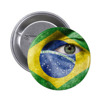 Unique Brasil flag design on your cool gift Pinback Button