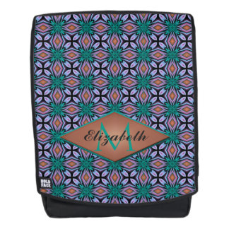 Unique Brown and Teal Pattern with Custom Monogram Backpack