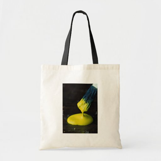 Unique Brush and yellow paint Tote Bags