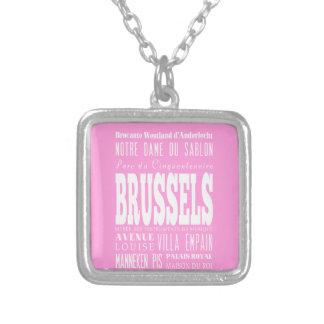 Unique Brussels, Belgium Gift Idea Square Pendant Necklace