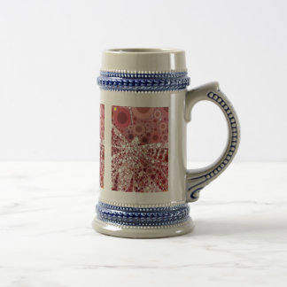 Unique Butterfly Dragonfly Mosaic Mauve Color 18 Oz Beer Stein