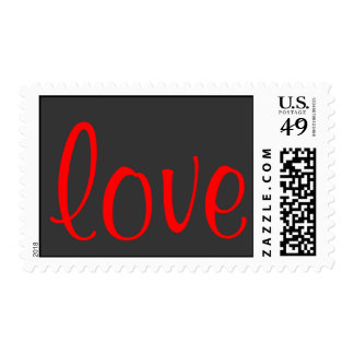 Unique Calligraphy Grey Red Love Wedding Postage